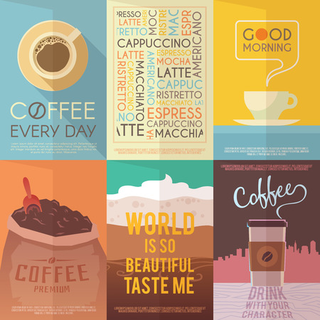 drinking coffee: Beautiful set of vector vintage posters for your projects. Coffee, cafes, coffee shops, types of beverages. Italian coffee. The consumption of coffee. Breakfast.