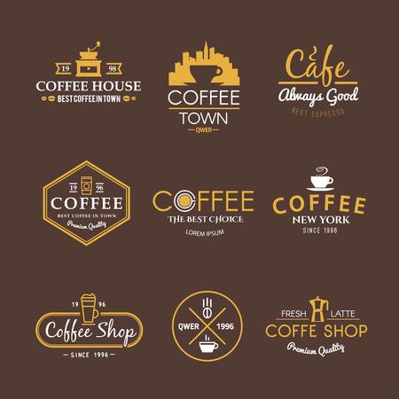 あなたのプロジェクトのためのベクトル ラベルの美しいセットです。コーヒー、カフェ、コーヒー ショップ、飲料の種類。イタリアのコーヒー。コ  イラスト・ベクター素材