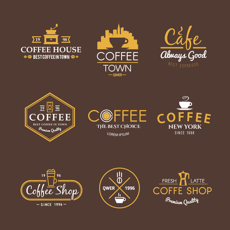 Beautiful set of vector labels for your projects. Coffee, cafes, coffee shops, types of beverages. Italian coffee. The consumption of coffee. Breakfast. On black. Иллюстрация
