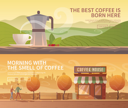 coffee: Beautiful set of vector banners for your projects. Coffee, coffee drinks, coffee cultivation Mountains. City, cityscape, landscape Couple, a date. Evening Cafe, coffee shop. Flat design