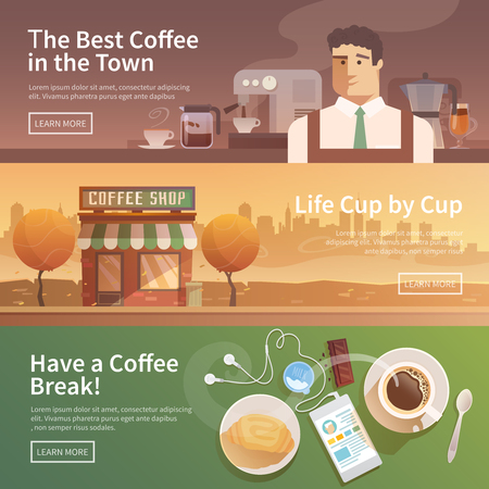 man coffee: Beautiful set of vector banners for your projects. Coffee, coffee drinks.City, cityscape, landscape. Couple, a date. Evening Cafe, coffee shop Coffee house Barista Flat design.