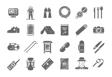 survival knife: Set of black and white vector icons on the theme of Climbing, Trekking, Hiking, Walking. Sports, outdoor recreation, adventures in nature, vacation. Modern flat design.