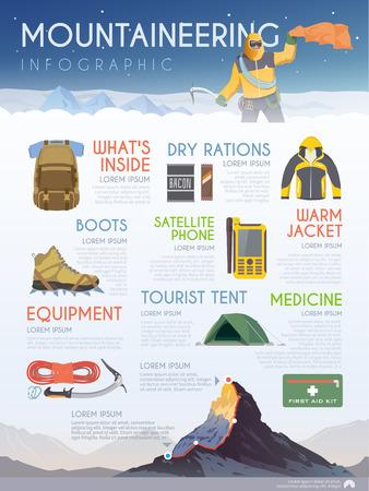 Vector infographics op het thema van Klimmen, Trekking, wandelen, bergbeklimmen. Extreme sporten, openlucht recreatie, avontuur in de bergen, vakantie. Prestatie. Modern plat design Stock Illustratie