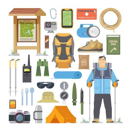 登山、トレッキング、ハイキング、ウォーキングをテーマに平面ベクトル要素のセットです。スポーツ、アウトドア、自然の中での冒険の休暇しま