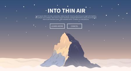登山、トレッキング、ハイキング、登山のテーマの背景をベクトルします。極端なスポーツ、アウトドア、冒険休暇、山の中。達成。アルプス。マ