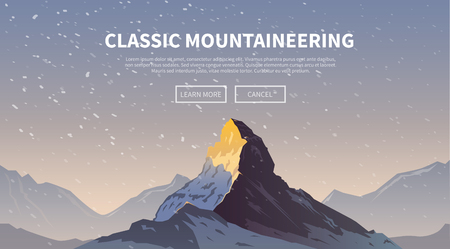 mountain view: Vector background on the theme of Climbing, Trekking, Hiking, Mountaineering. Extreme sports, outdoor recreation, adventure in the mountains, vacation. Achievement. The Alps. The Matterhorn