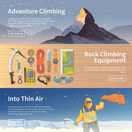 ice climbing: Beautiful set of flat web vector banners on the theme of Climbing, Trekking, Hiking, Mountaineering. Extreme sports, outdoor recreation, adventure in the mountains, vacation. Modern flat design.