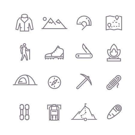 登山、トレッキング、ハイキング、登山をテーマに行ベクトルのアイコンのセットです。キャンプ。Adventure.Extreme スポーツ、アウトドア、山での冒