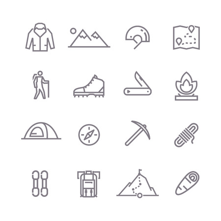 mountaineering: Set of line vector icons on the theme of Climbing, Trekking, Hiking, Mountaineering. Camping. Adventure.Extreme sports, outdoor recreation, adventure in the mountains, vacation Line art. Illustration