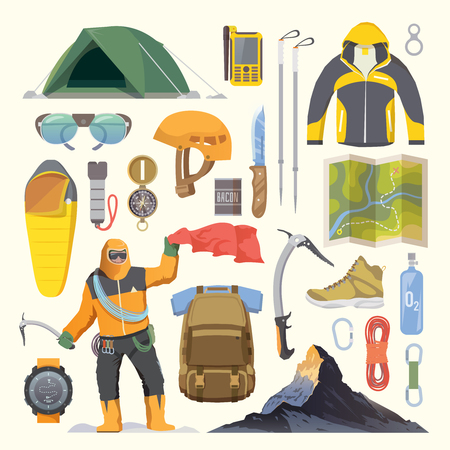 mountaineering: Beautiful set of flat vector icons on the theme of Climbing, Trekking, Hiking, Mountaineering. Extreme sports, outdoor recreation, adventure in the mountains, vacation. Achievement. Modern flat design