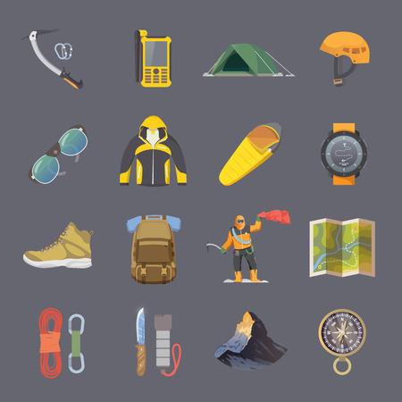 Set of flat vector icons on the theme of Climbing, Trekking, Hiking, Mountaineering. Extreme sports, outdoor recreation, adventure in the mountains, vacation. Achievement. Modern flat design