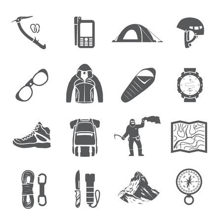 登山、トレッキング、ハイキング、登山をテーマに黒のベクトルのアイコンのセットです。極端なスポーツ、アウトドア、冒険休暇、山の中。達成  イラスト・ベクター素材