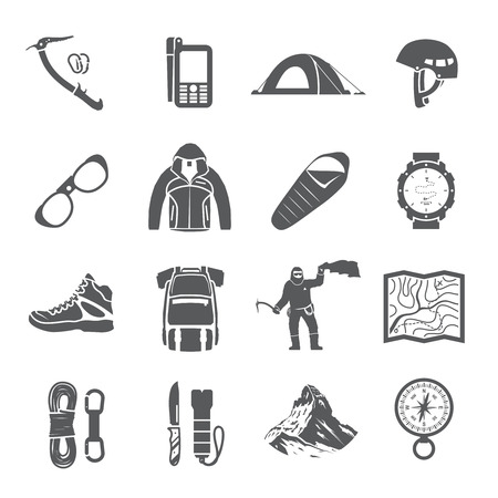 Set of black vector icons on the theme of Climbing, Trekking, Hiking, Mountaineering. Extreme sports, outdoor recreation, adventure in the mountains, vacation. Achievement.