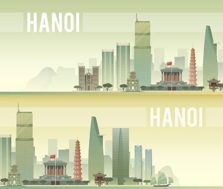 ハノイの都市風景のベクター バナー。都市の景観。スカイライン。フラットなデザイン。