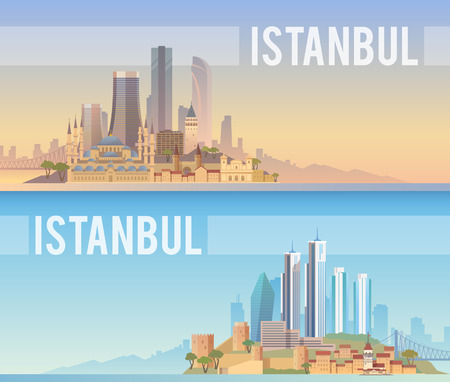 turkey istanbul: Vector banners of the urban landscape of Istanbul. Cityscape. Skyline. Flat design.