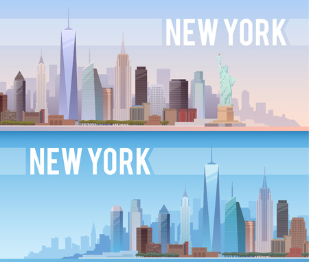 liberty statue: Vector banners of the urban landscape of New York. Cityscape. Skyline. Flat design.