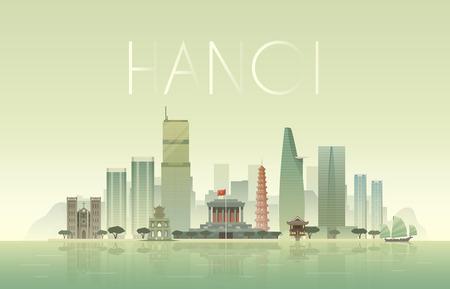하노이의 도시 풍경의 벡터 배경입니다. 풍경입니다. 지평선. 플랫 디자인.