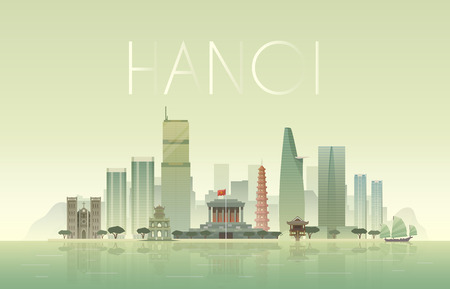 mausoleum: Vector background of the urban landscape of Hanoi. Cityscape. Skyline. Flat design.