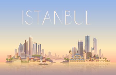 pavo: Fondo del vector del paisaje urbano de Estambul. Paisaje urbano. Horizonte. Diseño plano. Vectores