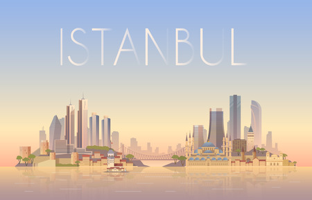 tourism: Vector background of the urban landscape of Istanbul. Cityscape. Skyline. Flat design.