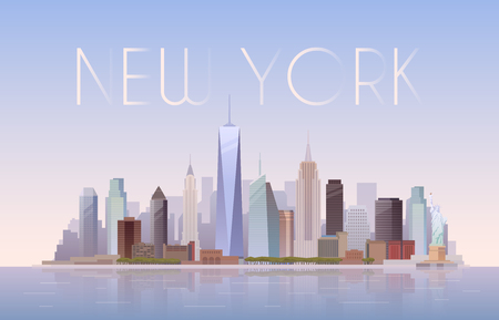 statue of liberty: Vector background of the urban landscape of New York. Cityscape. Skyline. Flat design.