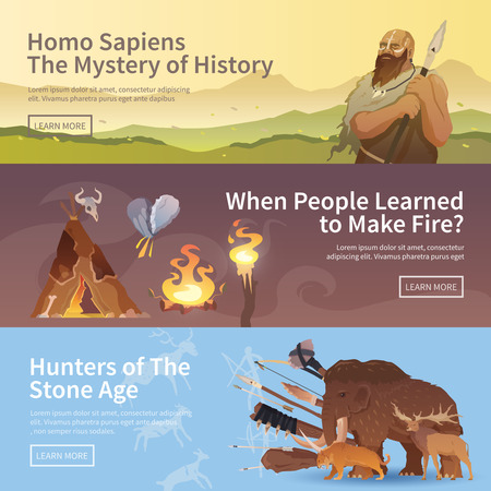 set in stone: Great vector set of web banners for your projects. Primitive man. Ice age. Cavemen. Stone age. Neanderthals. Homo sapiens. Extinct species. Evolution. Hunting Flat design.