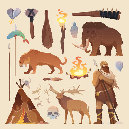 primeval: Great vector set of elements for your projects. Primitive man. Ice age. Cavemen. Stone age. Neanderthals. Homo sapiens. Extinct species. Evolution. Hunting Flat design.