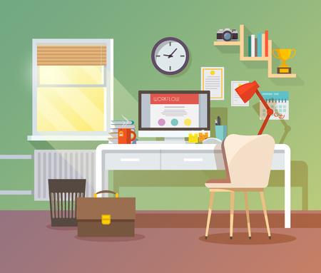 日当たりの良い部屋で職場。スタイリッシュでモダンなインテリア。品質設計図、要素および概念。フラット スタイル。