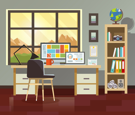 interior window: Workplace. Workspace. Stylish and modern interior.Quality design illustration, elements and concept. Flat style.4 Illustration