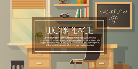 workspace: Vector banner. Workplace. Workspace. Quality design illustration, elements and concept. Flat modern style 2