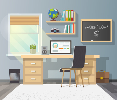 window view: Workplace in sunny room. Stylish and modern interior.Quality design illustration, elements and concept. Flat style.2