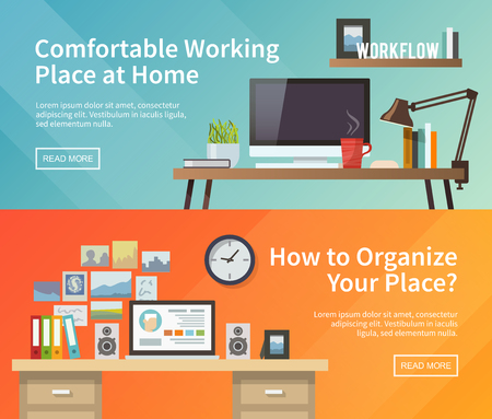 Colorful vector banners set. Workplace. Workspace. Quality design illustration, elements and concept. Flat style. 1