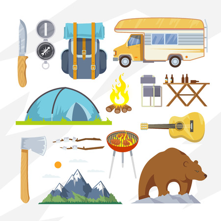 survival knife: Colourful camping vector icon set for your business, web sites, presentations, advertising etc. Quality design illustrations, elements and concept. Flat style. Illustration