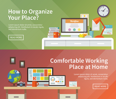 workspace: Colorful vector banners set. Workplace. Workspace. Quality design illustration, elements and concept. Flat style. 2