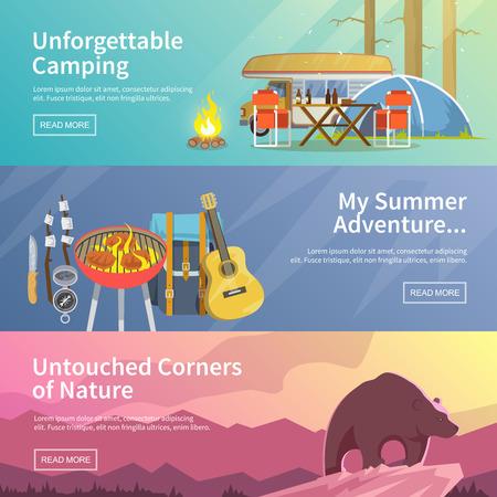 Coloré vecteur de camping bannière plat fixé pour votre entreprise, des sites Web, etc. Qualité illustrations de conception, les éléments et concept. Camping inoubliable. aventure d'été. coins vierges de la nature.
