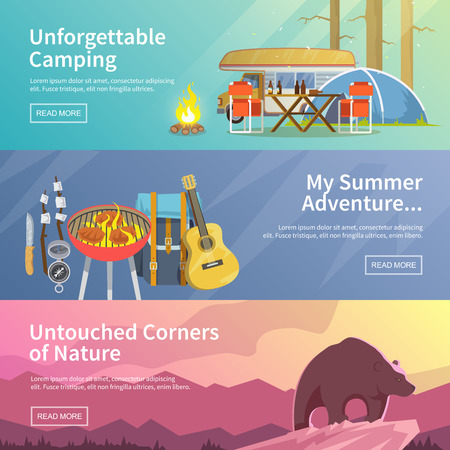 summer: Colorida pancarta plana vector de acampada establecido para su negocio, sitios web, etc. ilustraciones diseño de calidad, elementos y concepto. acampar inolvidable. aventura de verano. rincones vírgenes de la naturaleza.
