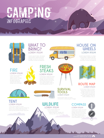 Colourful camping vector infographic. The concept of infographic for your business, web sites, presentations, advertising etc. Quality design illustrations, elements and concept. Flat style. Vettoriali