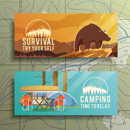 exteriores: Piso banners vector acampar en el tema de la supervivencia en la naturaleza, campamentos, viajes, etc .. ilustraciones diseño de calidad, los elementos y el concepto. Diseño plano.