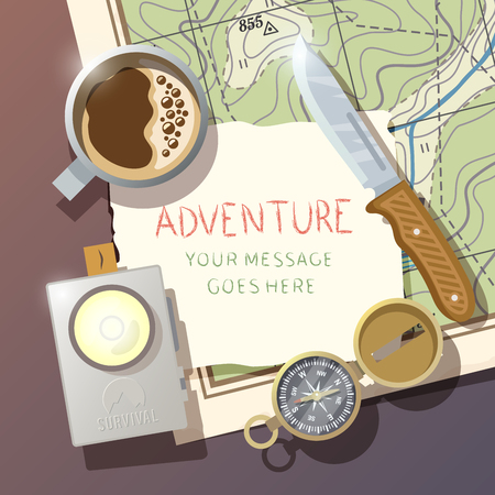 Flat vector background on the subject of wilderness survival, camping, travel, etc.. Quality design illustrations, elements and concept. Flat design.