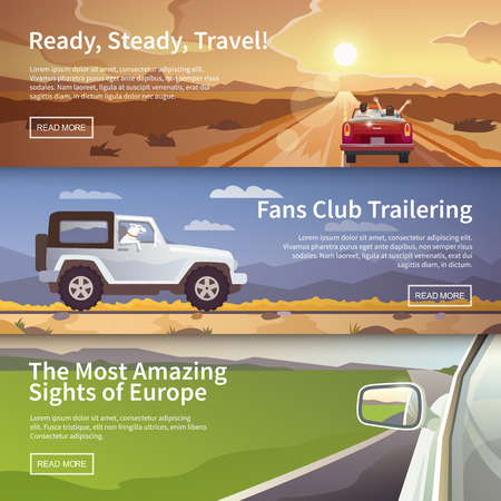 family trip: Colourful  vector flat banner set for your business, web sites etc. Quality design illustrations, elements and concept. Journey by car. Fans club trailering. Trip to Europe.