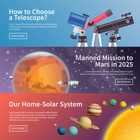 Colorful vector flat astronomy banners set. Quality design illustrations, elements and concept. The choice of the telescope. Mission to Mars. Solar system.