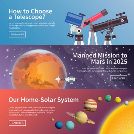 mision: Vector coloridos estandartes astronom�a plana conjunto. ilustraciones de calidad de dise�o, elementos y concepto. La elecci�n del telescopio. Misi�n a Marte. Sistema solar.