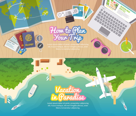 旅行: 色彩繽紛的旅遊載體平坦的旗幟為您的業務,網站等質量設計插圖,要素和概念設定。旅行計劃。度假天堂。頂視圖。 向量圖像