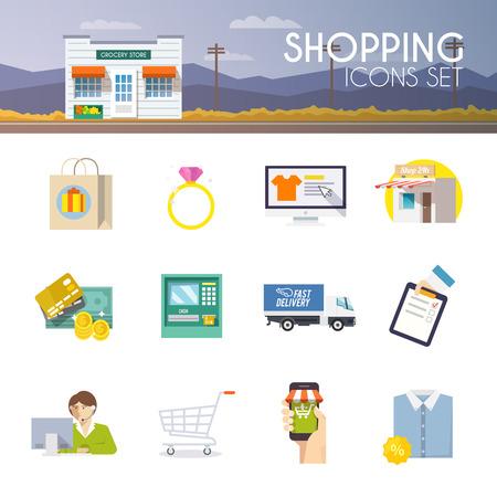 カラフルなショッピング ベクトルのアイコン、ビジネス、web サイト、プレゼンテーション、広告等のセットします。品質デザインのイラスト、要素