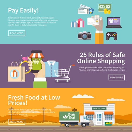 supermarket cash: Beautiful set of colorful flat vector banners on the theme: online shopping, payment, delivery of the goods . All items are created with love especially for your amazing projects. Illustration