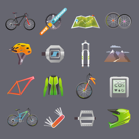 biking: Modern flat icons set. Mountain bike. Set 2 Illustration