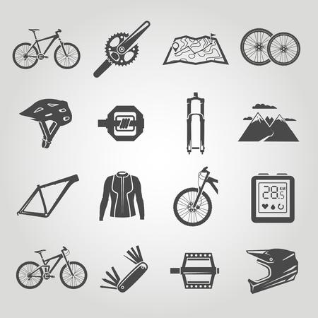 montagna: Icone semplici nere impostate. Mountain bike. set 4