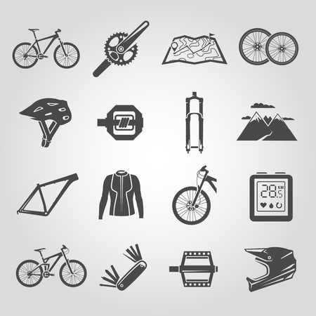 biking: Simple black icons set. Mountain bike. Set 4