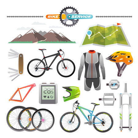 the accessory: Modern flat icons set. Mountain bike. Set 1