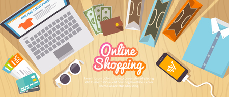 Colourful shopping vector flat banner for your business, web sites etc. Quality design illustrations, elements and concept. Online shopping. Buy online. Delivery.